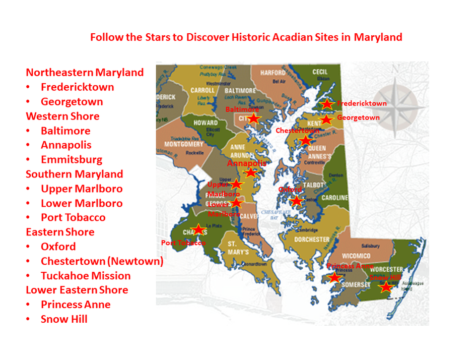 Where Maryland Acadians Were Living in 1763 - Acadians Were Here